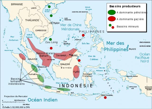 Карта нефтеносных областей у берегов Вьетнама