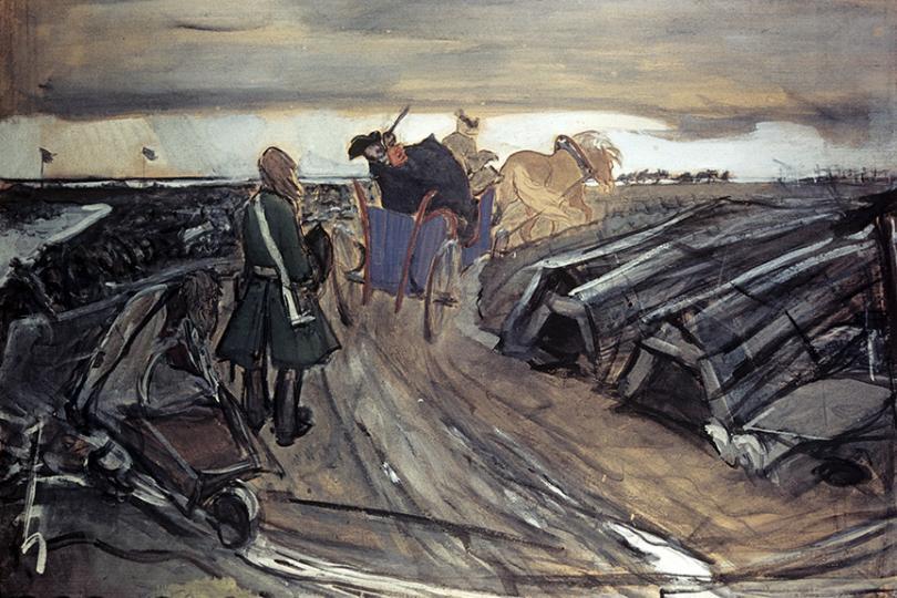 Валентин Серов. Пётр I на работах. Строительство Петербурга. 1910–1911