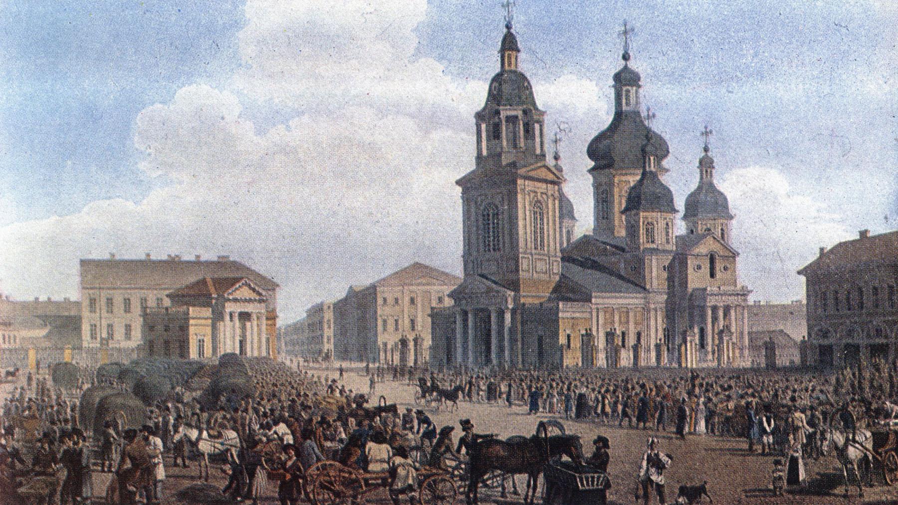 Александр Брюллов. Сенная площадь. Петербург. 1822