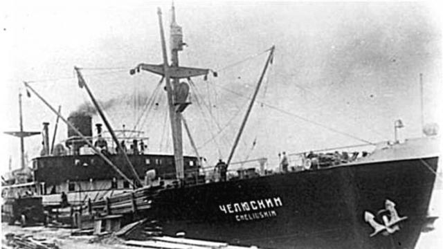 Пароход Челюскин летом 1933 года в Ленинграде