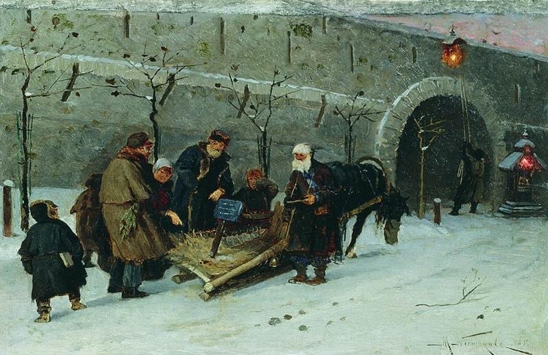 Михаил Нестеров. Сбор на погорелый храм в Москве. 1885