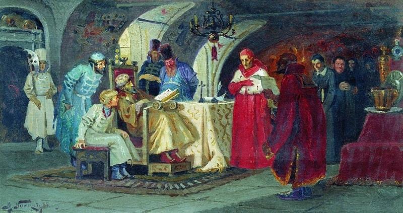 Михаил Нестеров. Приём послов. 1884