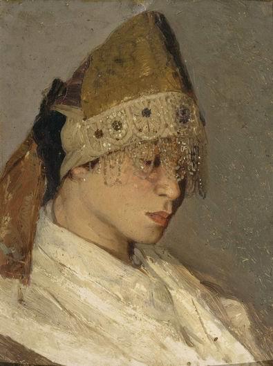 Михаил Нестеров. Девушка в кокошнике. Портрет М. Нестеровой. 1885
