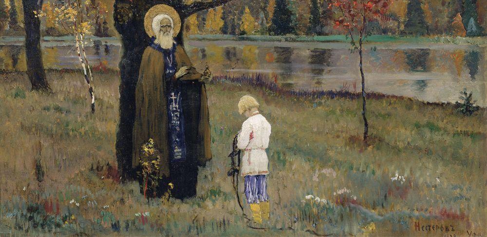 Михаил Нестеров. Видение отроку Варфоломею (эскиз). 1889