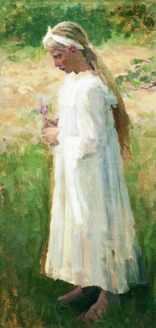 Михаил Нестеров. Девочка в белом платье и цветком в руках. 1900-е