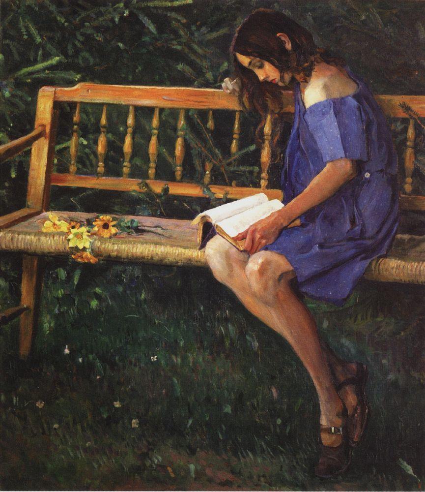 Михаил Нестеров. Наташа Нестерова на садовой скамейке. 1914