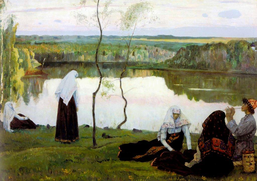 Михаил Нестеров. Монахини и странник у реки. 1922