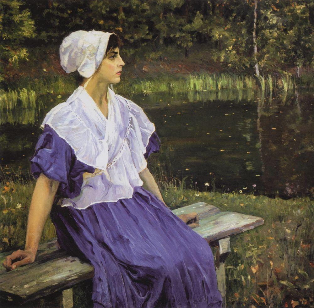 Михаил Нестеров. Девушка у пруда (Н. М. Нестерова). 1923