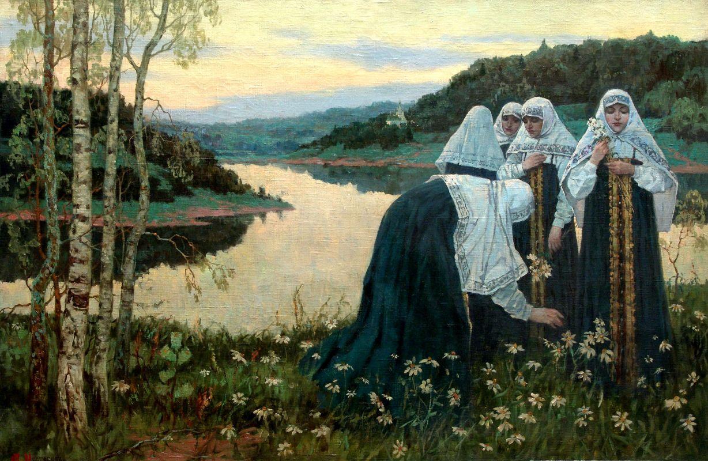 Михаил Нестеров. Послушницы на берегу реки. 1920-е