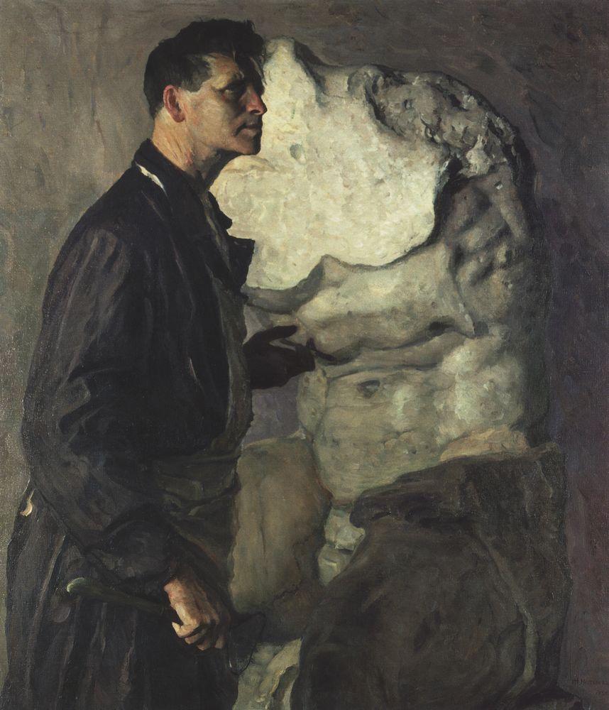 Михаил Нестеров. Портрет скульптора И. Д. Шадра. 1934
