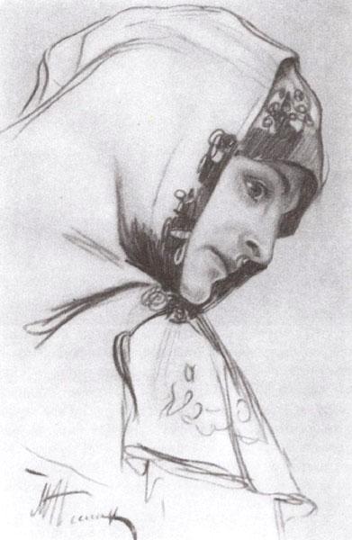 Михаил Нестеров. Голова женщины. Эскиз росписи
