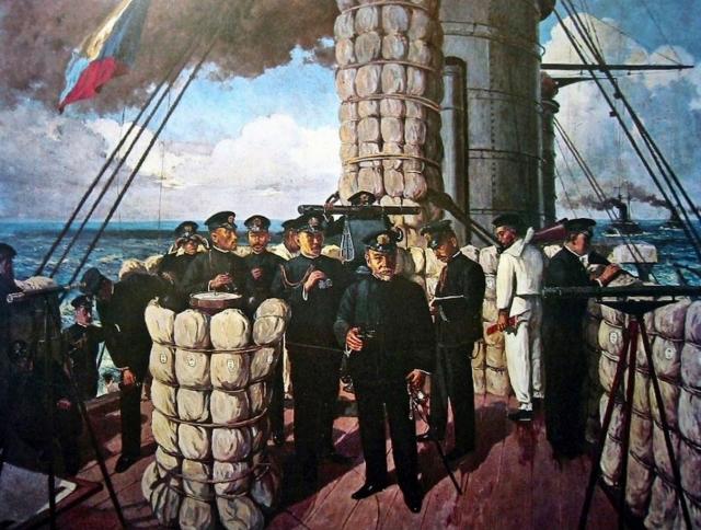 Тоджо Шотаро. Хэйхатиро Того на мостике флагманского броненосца «Микаса». 1906