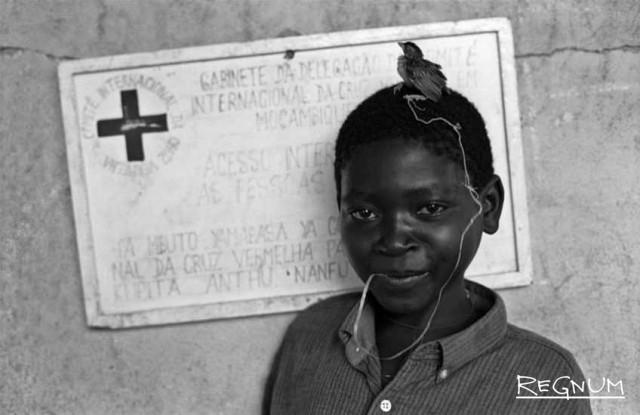 Мозамбик. 18 апреля 1993 года  Мальчик-сирота с птицей  Фотограф: Лукас Феллманн