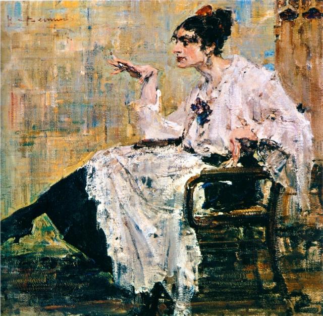 Николай Фешин. Женщина с сигаретой. 1917