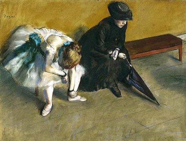 Эдгара Дега. Балерина и женщина с зонтом. 1882