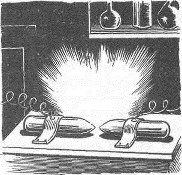 Демонстрация Петровым явления электрической дуги. Реконструкция
