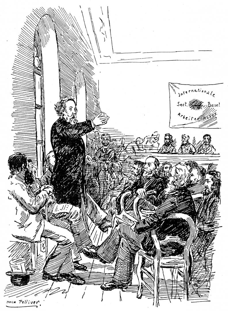 Rafael Farga i Pellicer. Михаил Бакунин выступает с речью. 1869