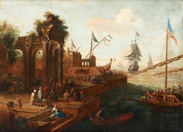 Абрахам Сторк. Южный порт с фигурами и кораблями