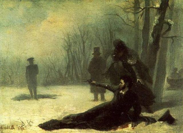 Адриан Волков. Последний выстрел А. С. Пушкина. 1869