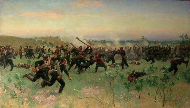 Николай Дмитриев-Оренбургский. Штыковой бой полков русской гвардии с турецкой пехотой на Систовских высотах 14 июня 1877 года. 1881