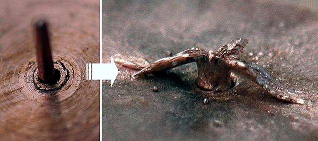 Медная мишень из экспериментов лаборатории «Протон-21» до и после воздействия