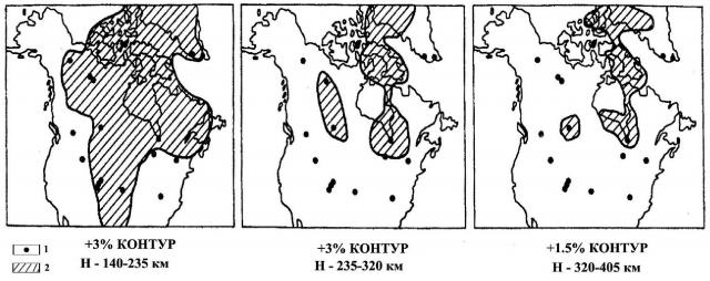 Рис. 6. Возмущенные скорости поперечных сейсмических волн согласно томографической инверсии сейсмических волн (провинция Саскачеван, Канада) (Лехи, Тэйлор, 1997)