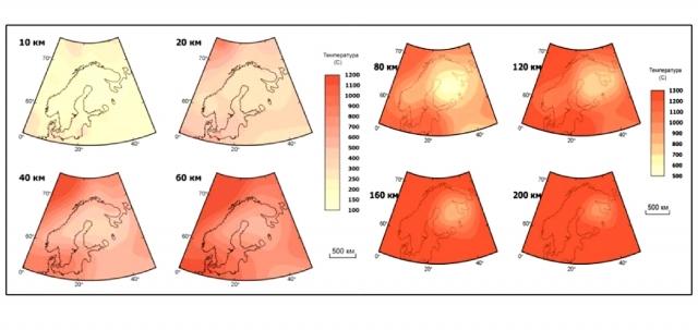 Рис. 9. Термическая модель литосферы Европейской части России на разных глубинах (Глазнев, 2003)