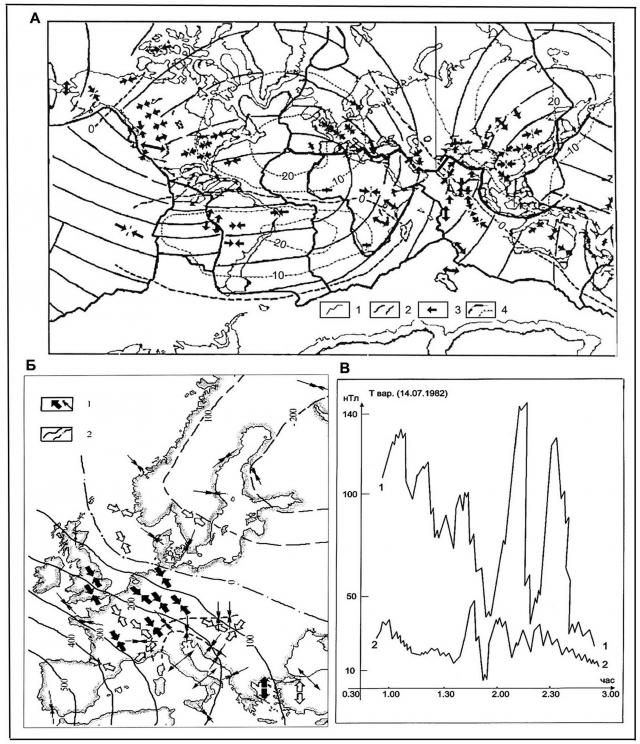 Рис. 17. Отражение тектонических нарушений разного ранга в геомагнитных вариациях