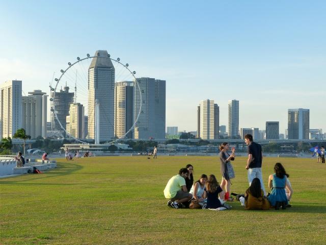 Люди отдыхают на газоне. Сингапур