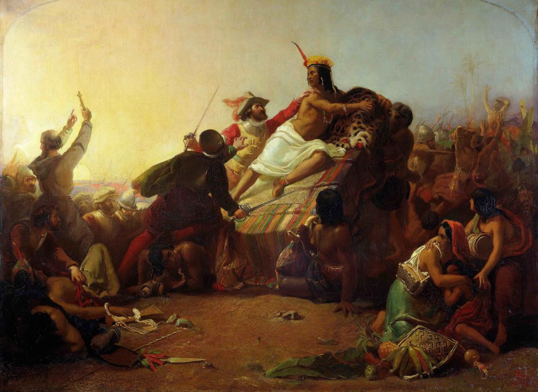 Джон Эверетт Милле. Писарро берёт в плен перуанских инков. 1845