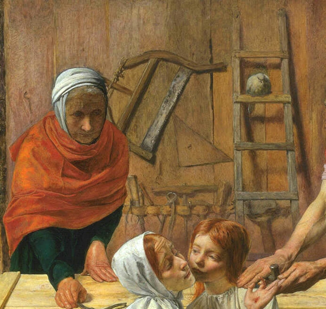 Джон Эверетт Милле. Христос в доме своих родителей. Фрагмент. Юный Иоанн Креститель с чашей. (фрагмент).1950