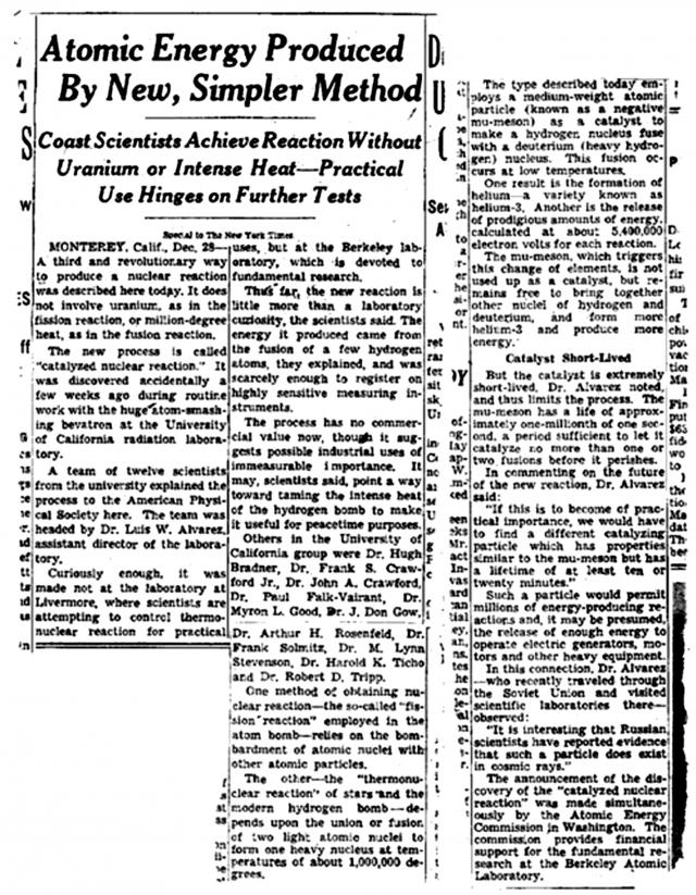 Первая публикация в «Нью-Йорк Таймс» от 29 декабря 1956 года, посвященная мюонному катализу Луиса Альвареса