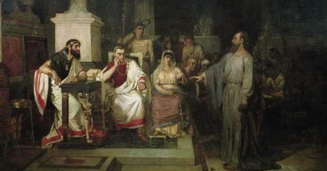 Василий Суриков. Апостол Павел объясняет догматы веры в присутствии царя Агриппы, сестры его Береники и проконсула Феста. 1875
