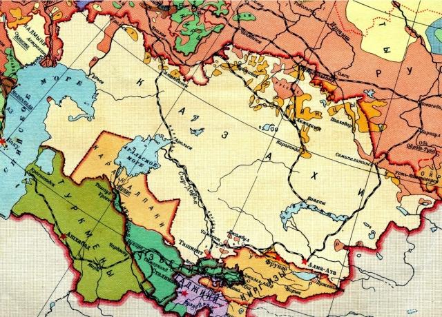 Карта советского Туркестана