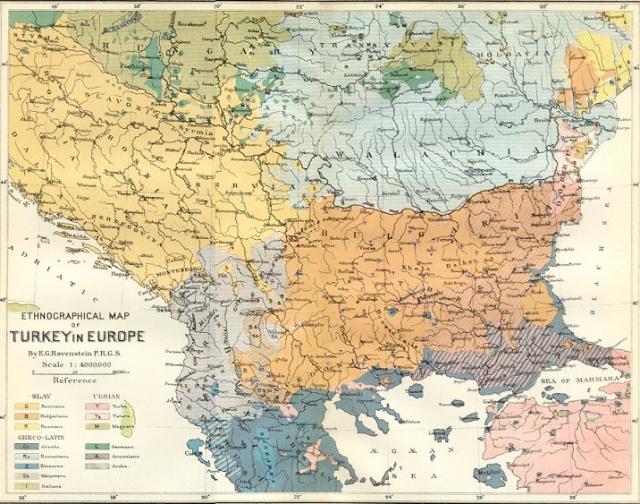 Этническая карта Балканского полуострова в конце XIX века