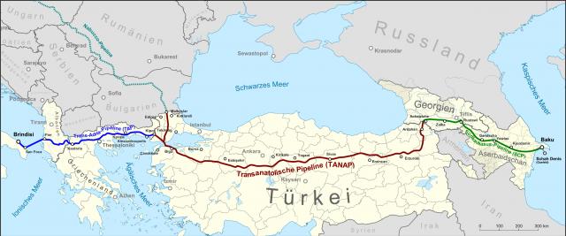 Трансанатолийский газопровод (TANAP) на карте Евразии
