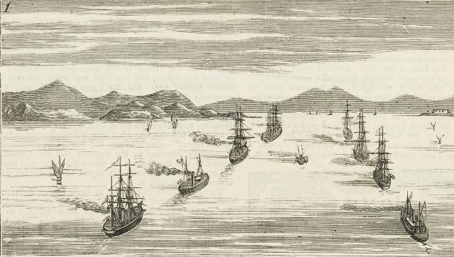 Английский флот входит в Дарданеллы. Иллюстрация из журнала Graphic за 1878 год
