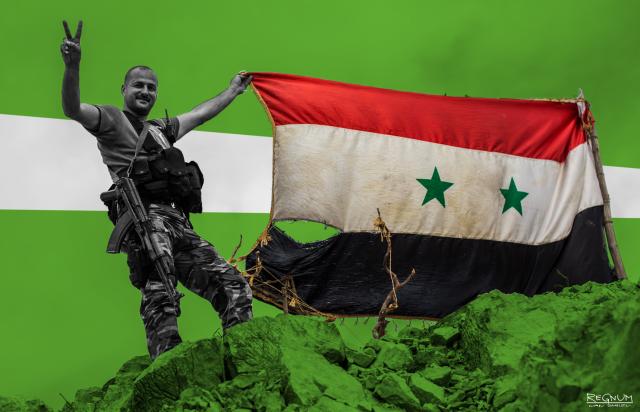 В городе Ракка вывешены флаги Сирийской Арабской Республики