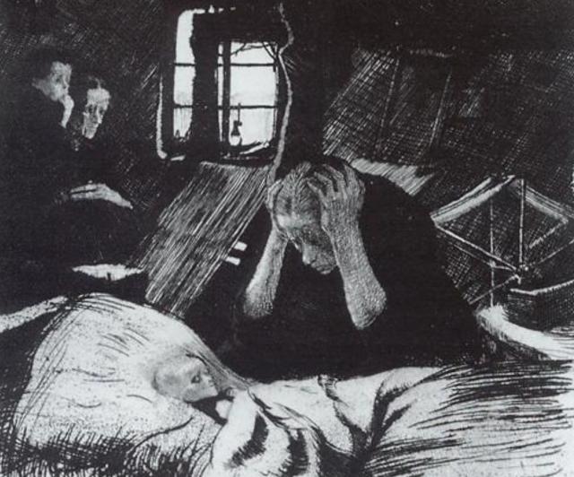 Кете Кольвиц. Нужда (фрагмент). 1893-1894