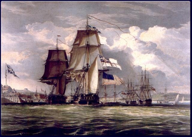 Джон Кристиан Шетки. Фрегаты «Шеннон» и «Чесапик» прибывают в Галифакс. 1830