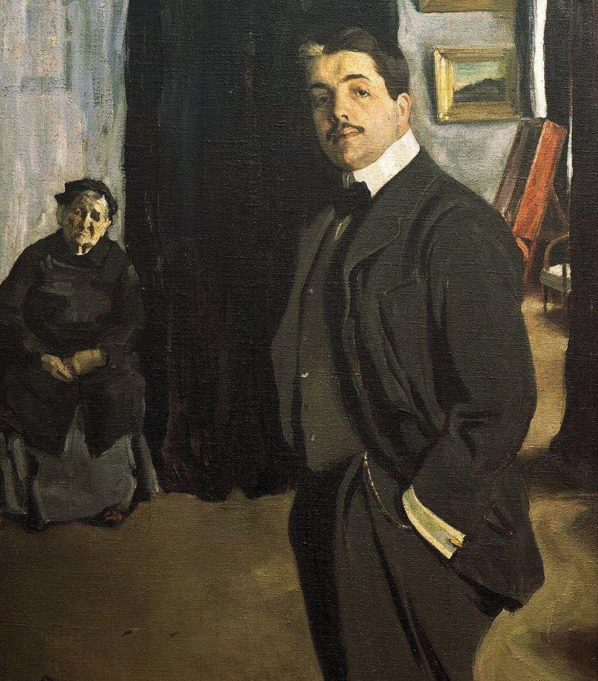 Лев Бакст. Портрет Сергея Павловича Дягилева с няней. 1905