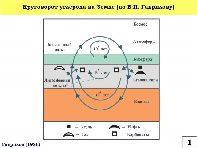 Рис. 1. Круговорот углерода на Земле по В.П. Гаврилову (1986)