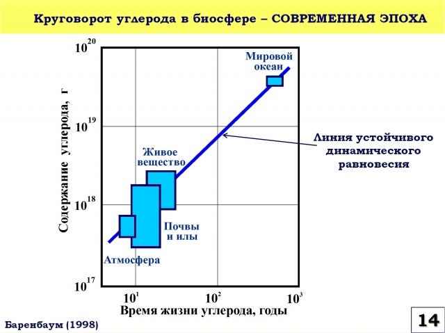 Рис. 14. Круговорот углерода в биосфере в современную эпоху