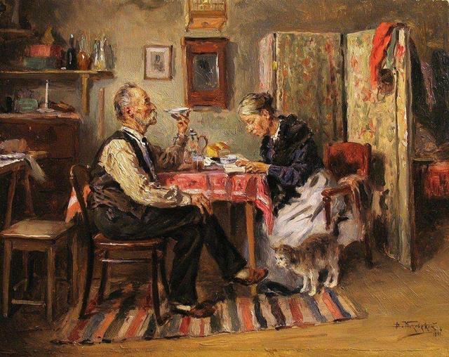 Владимир Маковский. Утренний чай. 1891