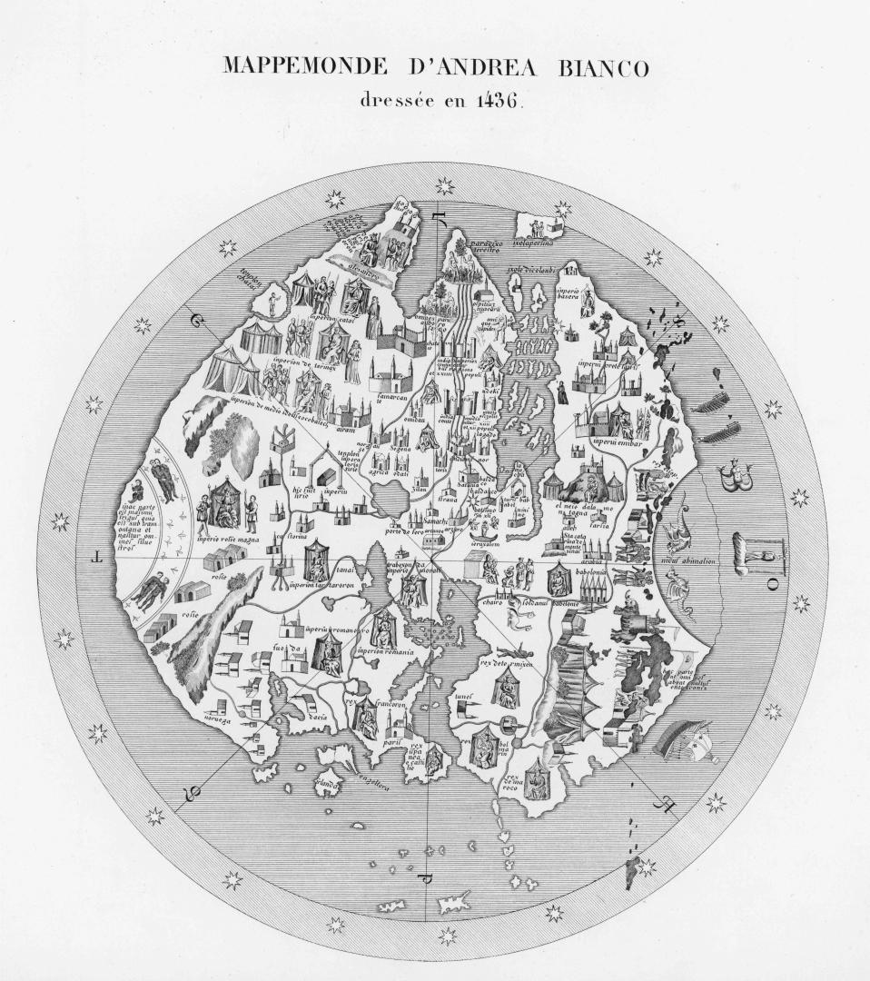 Великая Российская империя — карта Андреа Бьянко, факсимиле. 1436