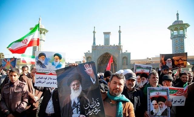 Проправительственный митинг в Куме. Иран. 3 января 2018 года