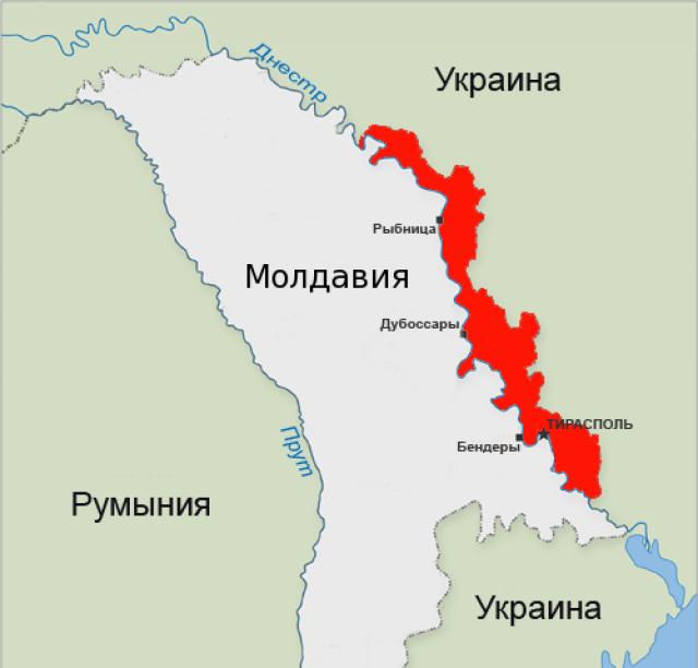 Приднестровье (выделено красным) и Молдавия на карте