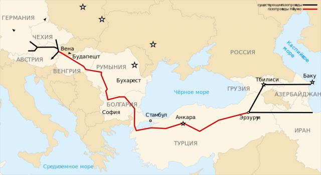 Проект газопровода Nabucco (красным)