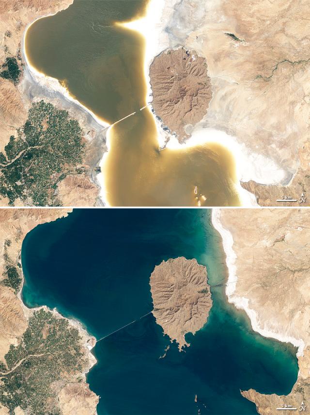 Озеро Урмия в засуху