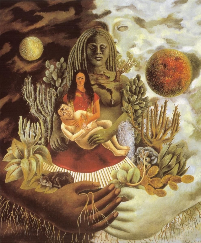 Фрида Кало. Дружеские объятия Вселенной, земли (Мексики), Я, Диего и Сеньор Холотль. 1949